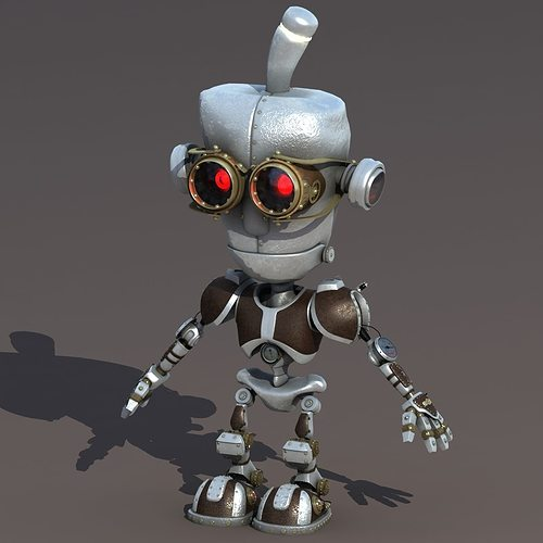 cartoon robot riged 3d model rigged max obj mtl 1