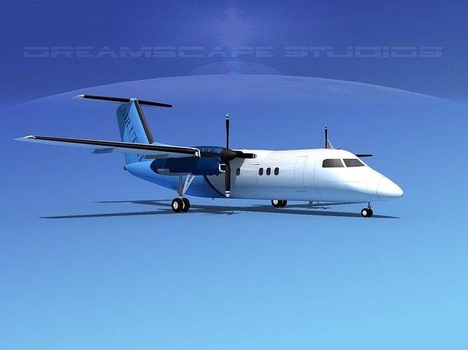 dehaviland dhc-8 100 air utah 3d model rigged max obj 3ds lwo lw lws stl 3dm 1