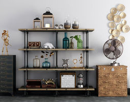 3D decorative vintage shelves