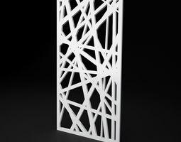 CNC panel Lines solid lattice 3D asset