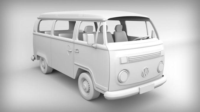 volkswagen kombi 2003 - for 3d printing 3d model obj mtl stl 1