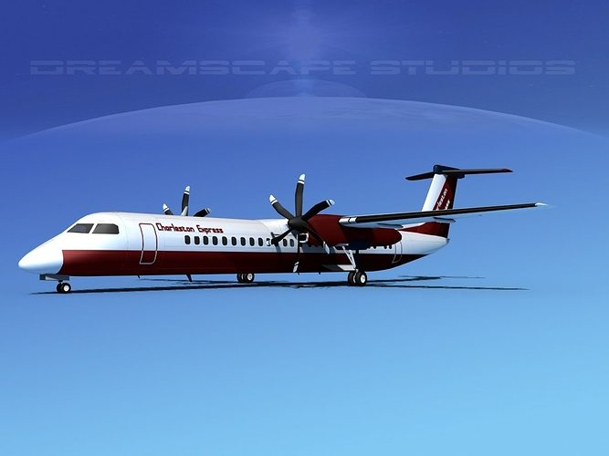 dehaviland dhc-8 400 charleston express 3d model max obj mtl 3ds lwo lw lws stl 3dm 1
