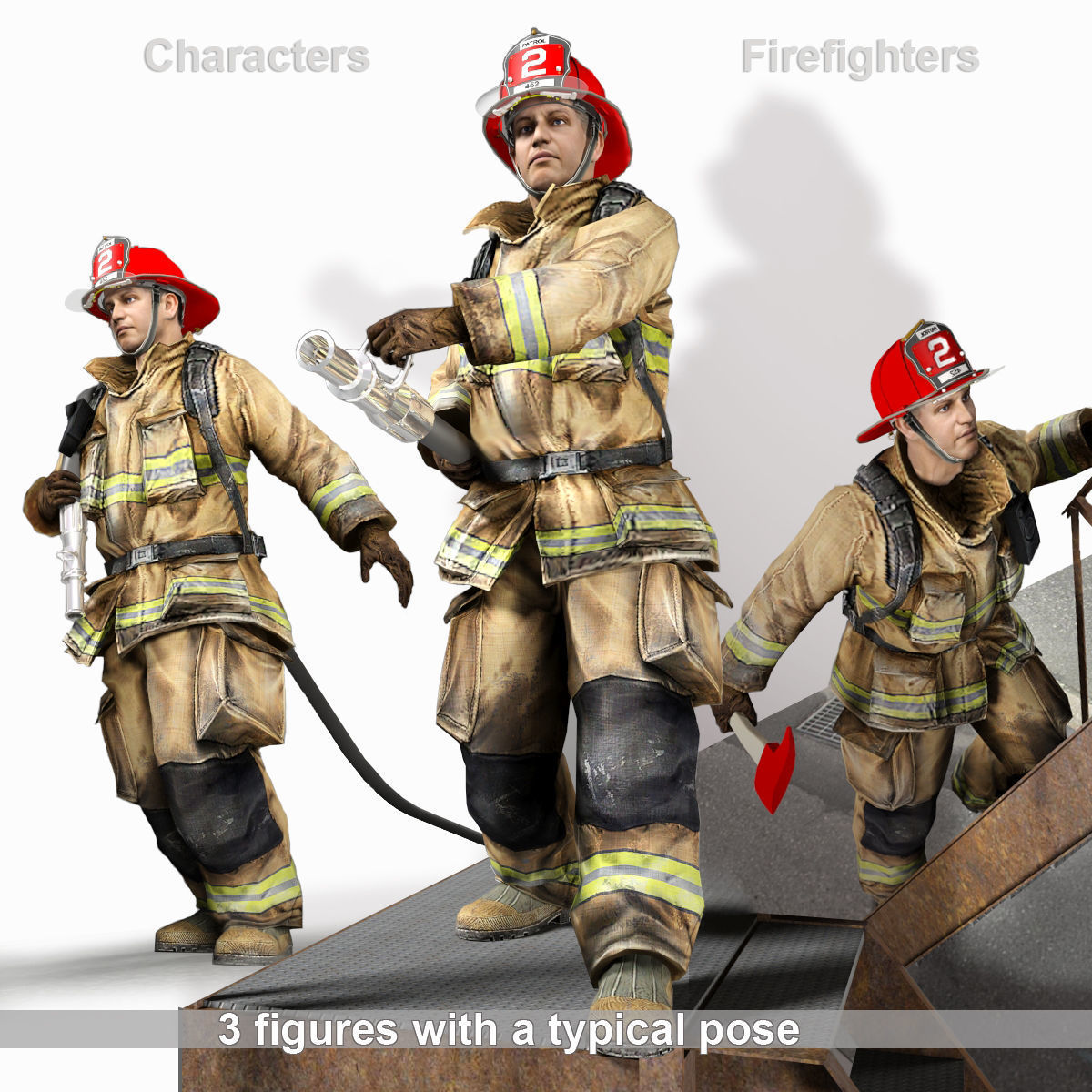 3D Firefighter characters
