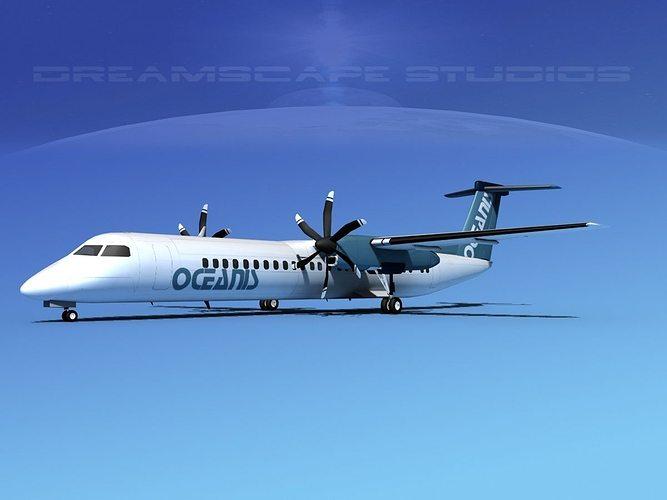 dehaviland dhc-8 400 oceanis air charter 3d model max obj 3ds lwo lw lws stl 3dm 1