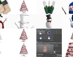 3D model Christmas symbols and decorations