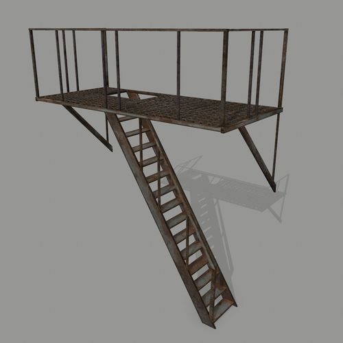 fire escape 3d model low-poly obj mtl 1