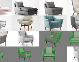 3D West Elm armchairs and sectionals