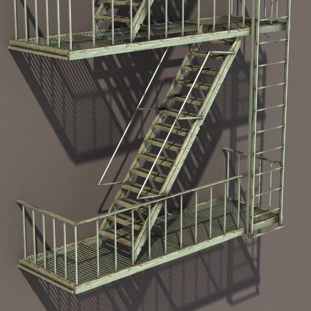 Fire Escape Stairs Low Poly 3d Model Low Poly Obj 3ds Lwo Lw Lws Hrc ...
