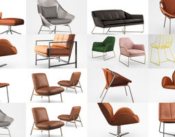 West Elm Metal and leather chairs 3D model