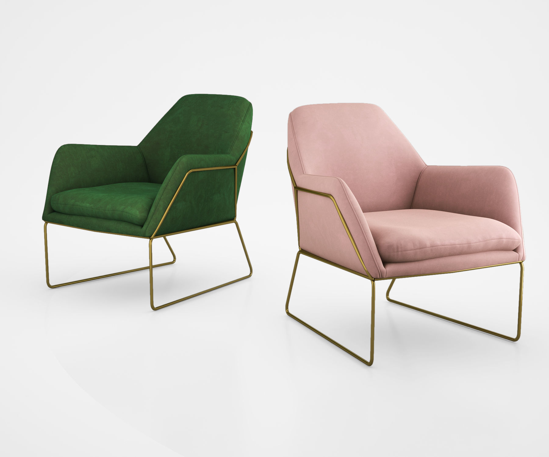 ... West Elm Metal And Leather Chairs 3d Model ...