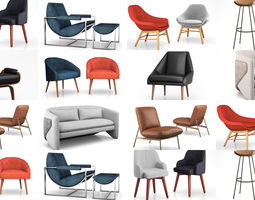 West Elm cozy chairs collection 3D model