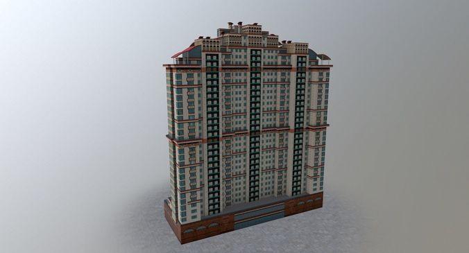 moscow house building38 3d model low-poly max obj mtl 3ds fbx 1