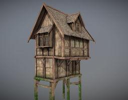 Medieval lake village - House 11 3D asset