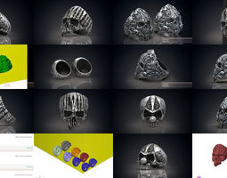 Skull rings collection 3d models for 3d printing