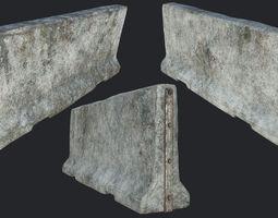 3D model Large Concrete Barricade PBR