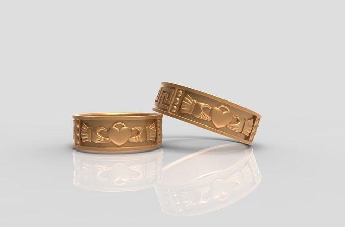 claddagh wedding rings 3d model stl 3dm 1