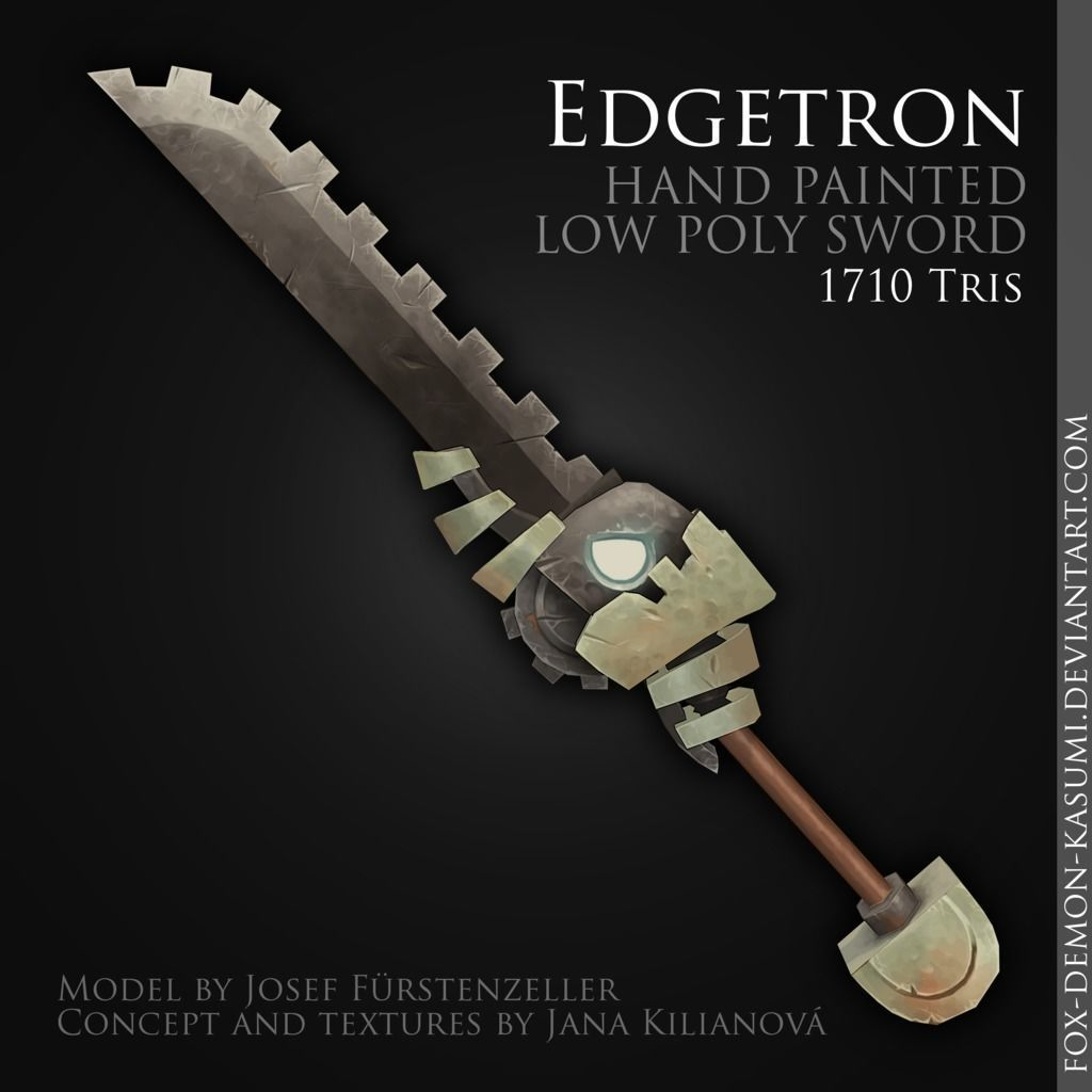Edgetron - 3D low poly fantasy hand painted sword