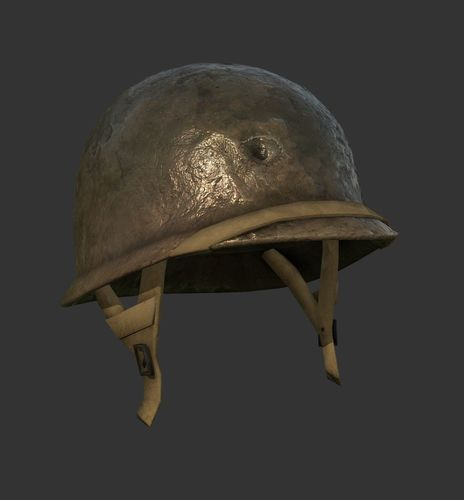 helmet military ww2 soldier army 3d model low-poly obj mtl 1