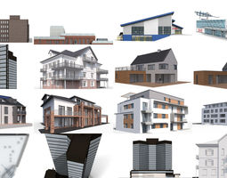 12x Secular buildings - 3D Building Models
