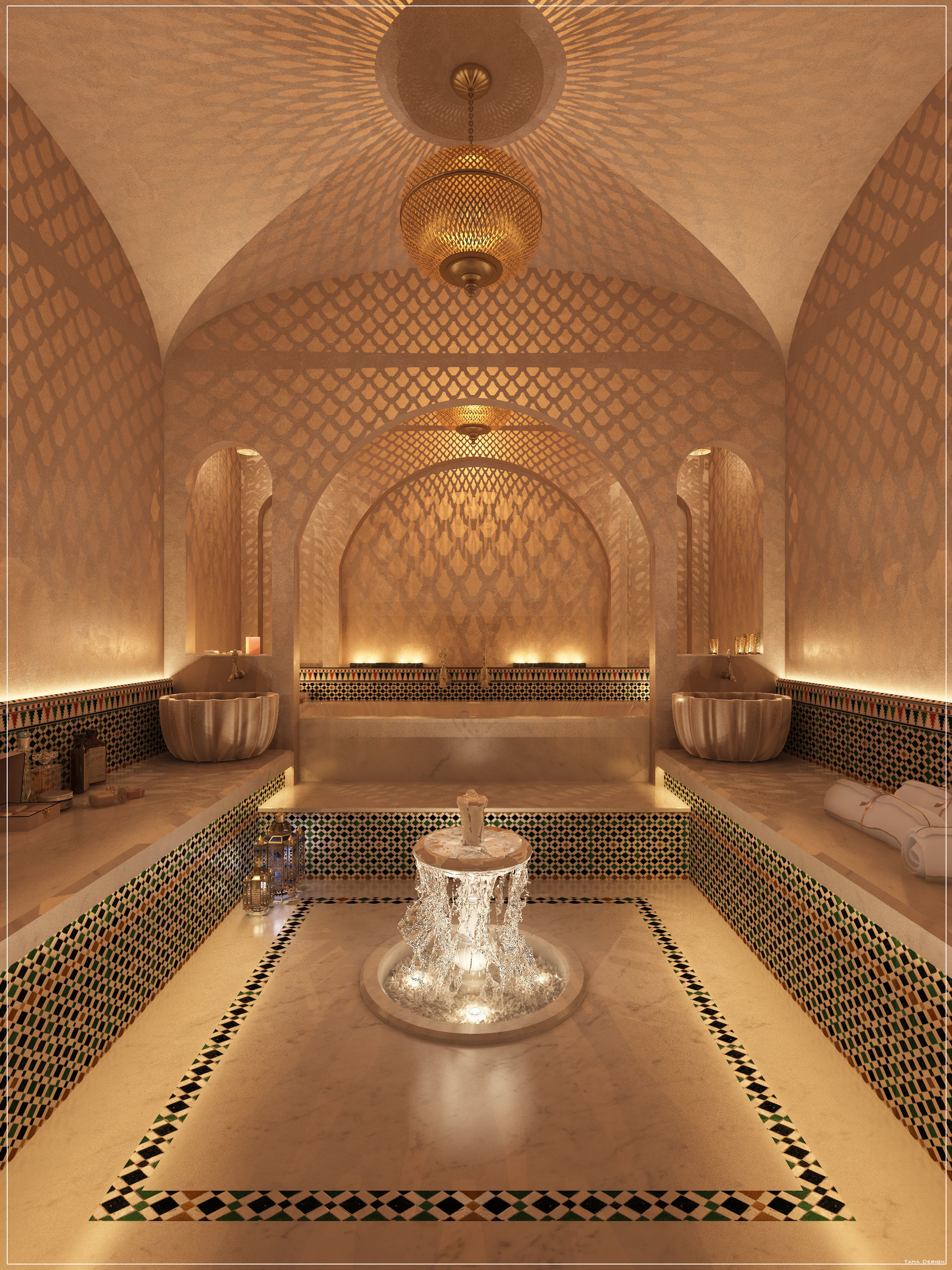 3D Moroccan Hammam Spa arabic  bathroom