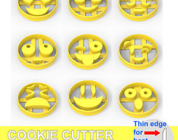 COOKIE CUTTER 9 EMOJI PACK 3D printable model smile