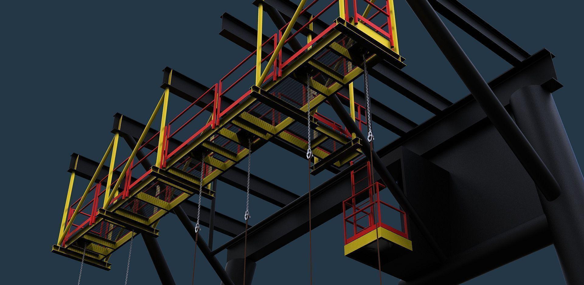 Hanging swing rope walkway 3D model | CGTrader