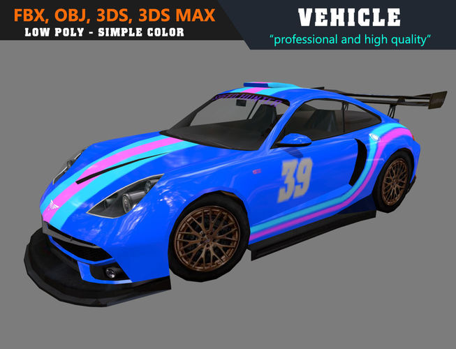 low poly simple car 911gt 3d model max obj mtl 3ds fbx 1