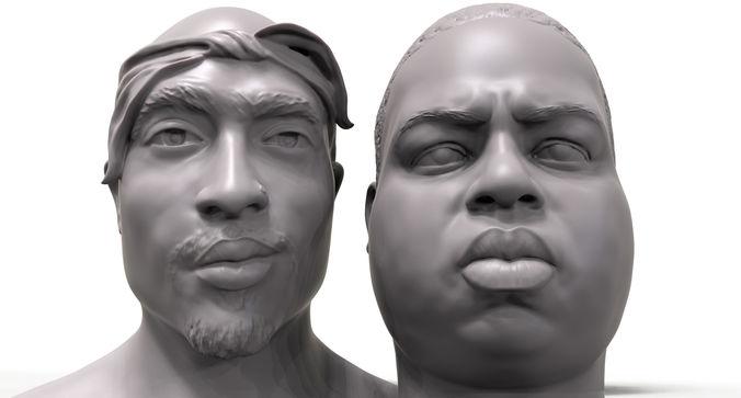 rapper portrait pack biggie 2pac  3d model obj mtl stl 1