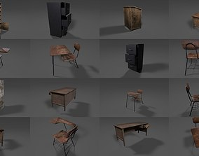Old and Antique School Furniture 3D model