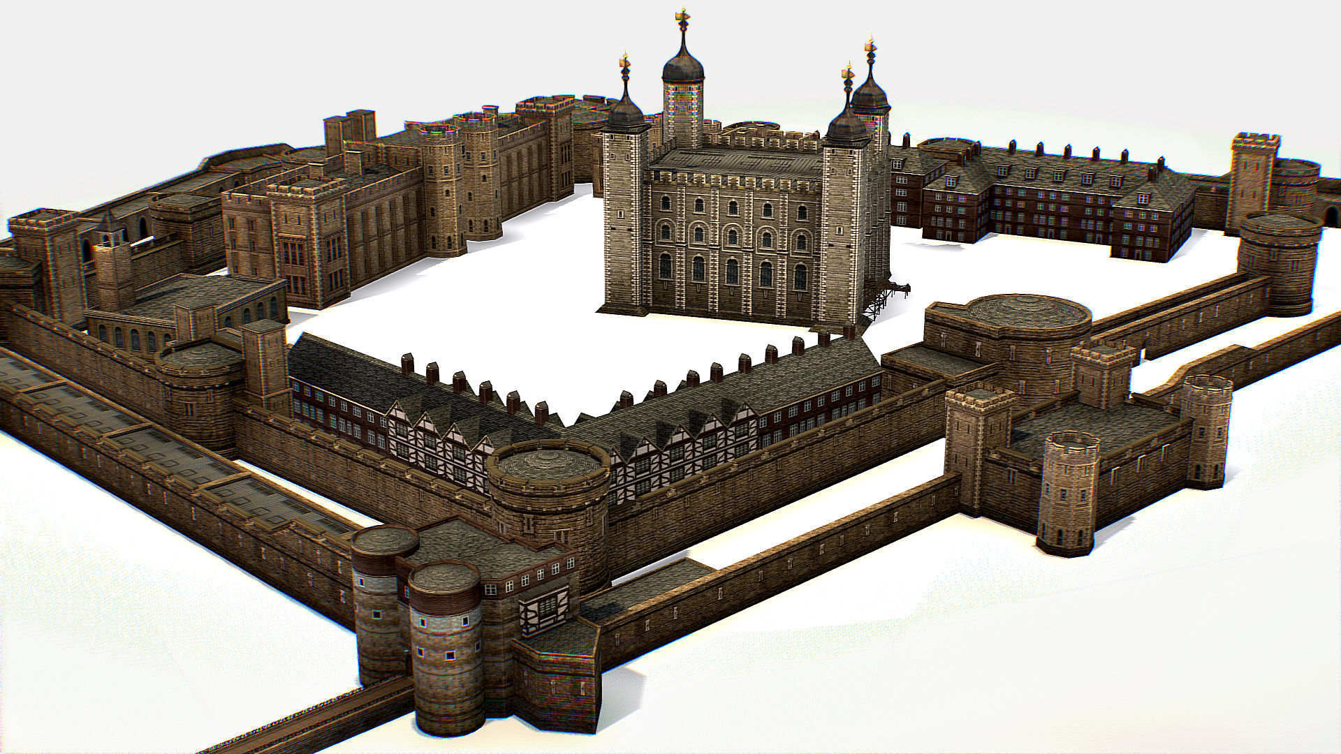 Fortress of the Tower of London historic castle 3d model
