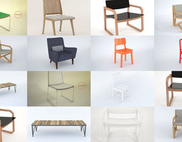 3D model 8 Chairs Collection