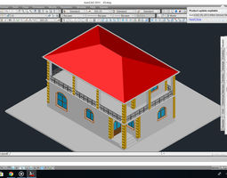 Private house project with open balcony on second 3D