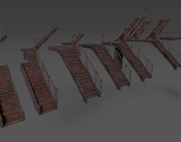 3D asset Modular Metal Stair System