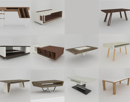 Big collection of modern tables 3D asset