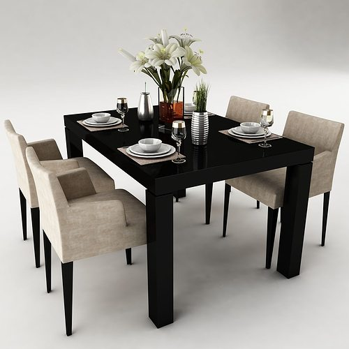 3d model dining table interior design cgtrader for Dining room table 3ds max