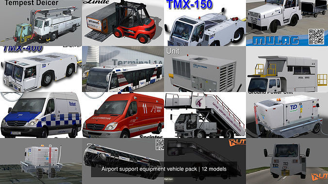airport support equipment vehicle pack 3d model max obj mtl 3ds fbx dxf stl 1