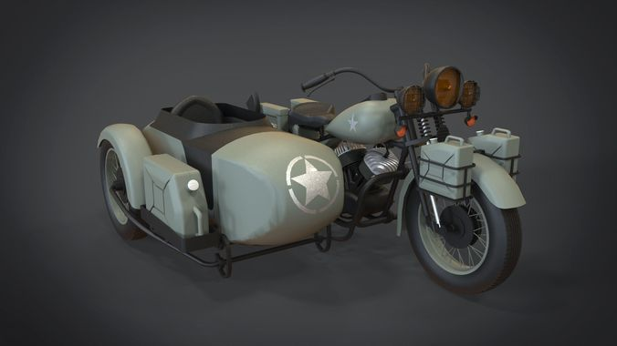 1942 harley davidson wla 3d model obj mtl fbx stl blend x3d ply 1