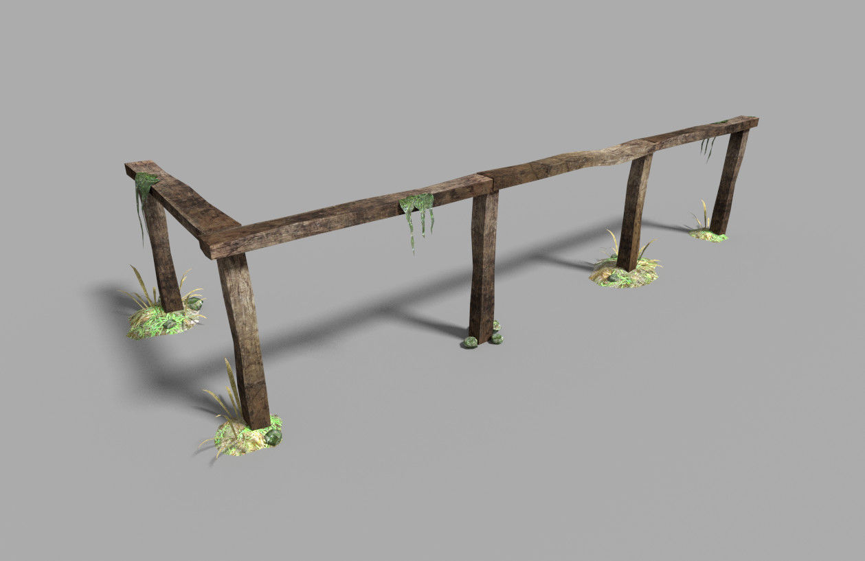 low poly medieval fence