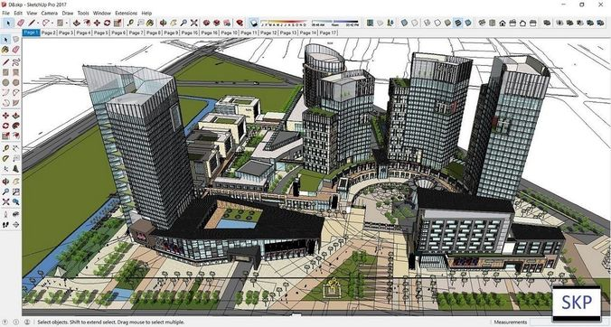 Sketchup Commercial and office residential complex D8 | 3D model