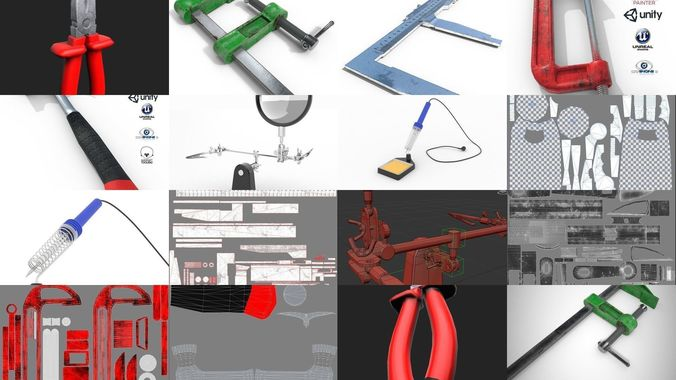 construction and radio tools  3d model max obj mtl 3ds fbx stl 1