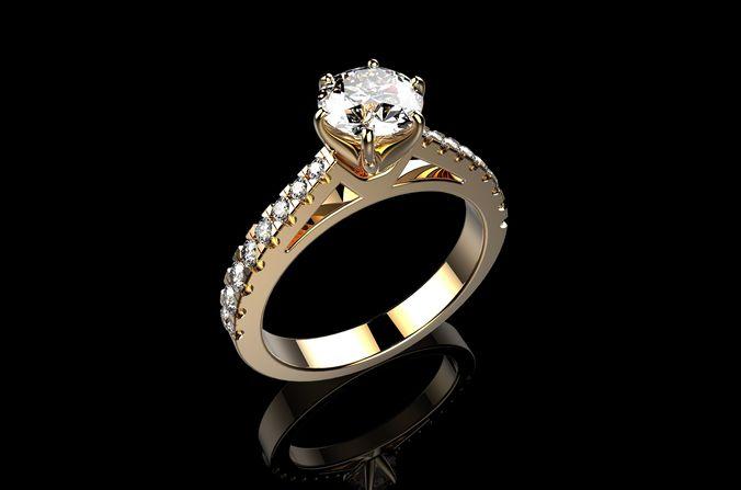 solitaire engagement rings  brilliant 3d model stl 3dm 1