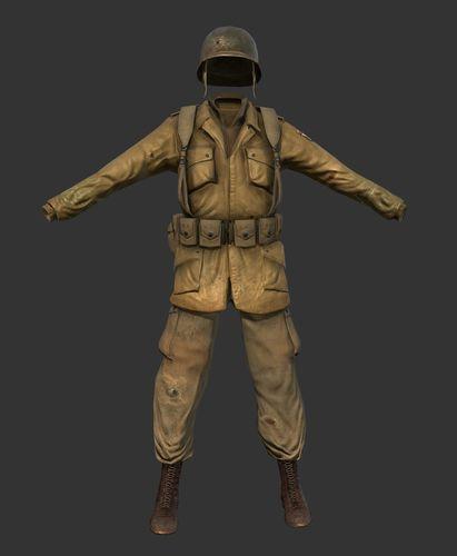 world war 2 american soldier uniform 3d model low-poly obj mtl 1