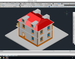 Private house projects with column system 3D
