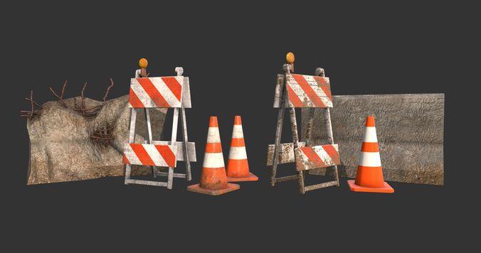 barricade cones concrete divider pack 3d model low-poly obj mtl 1