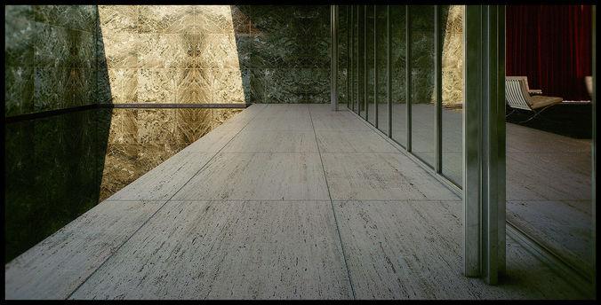 mies van der rohe barcelona pavilion - third - seventh 3d scene 3d model max fbx tga pdf 1
