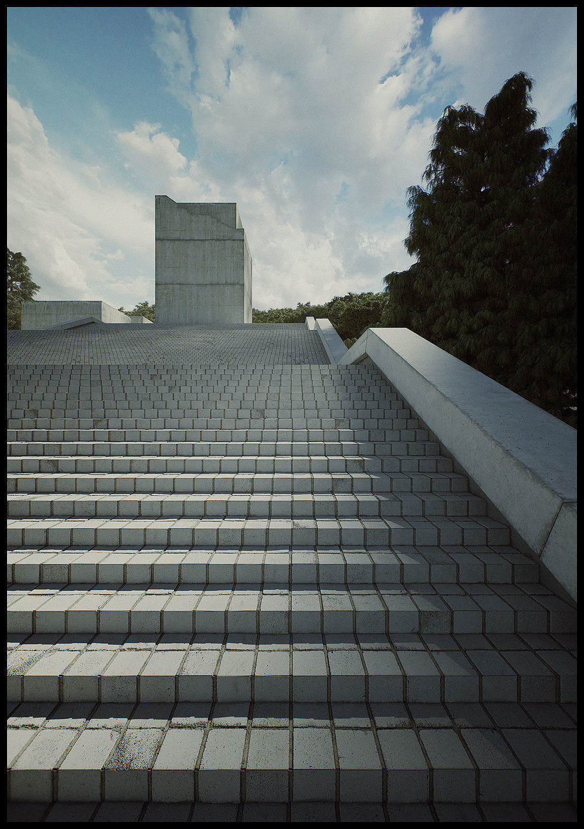 Tadao Museum Stairs form Third  Seventh Shortfilm 3D Scene