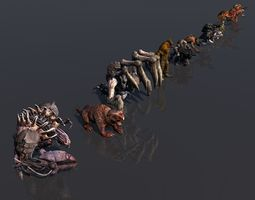 3D asset Pack of 14 fully animated monsters