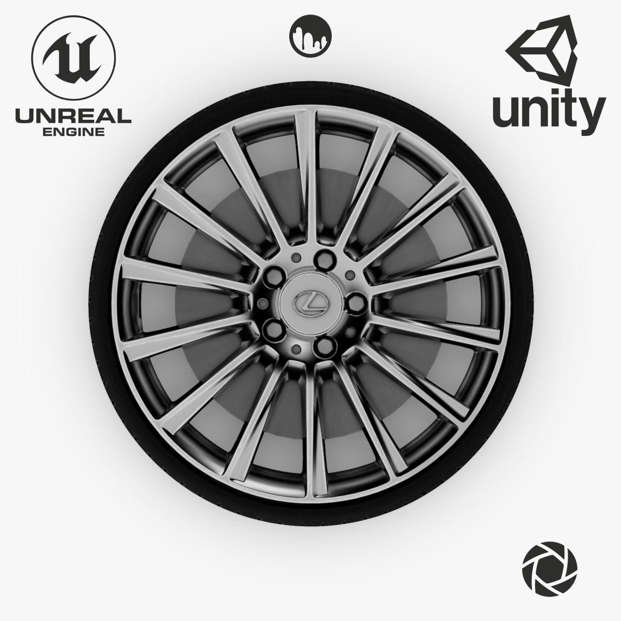 Wheel Steel-Chrome Alloy Rim Lexus 19 inch Michelin based Tire