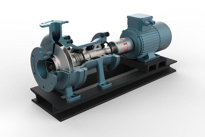 centrifugal pump with ac motor 3d model obj mtl fbx sldprt sldasm slddrw ige igs iges stp 1