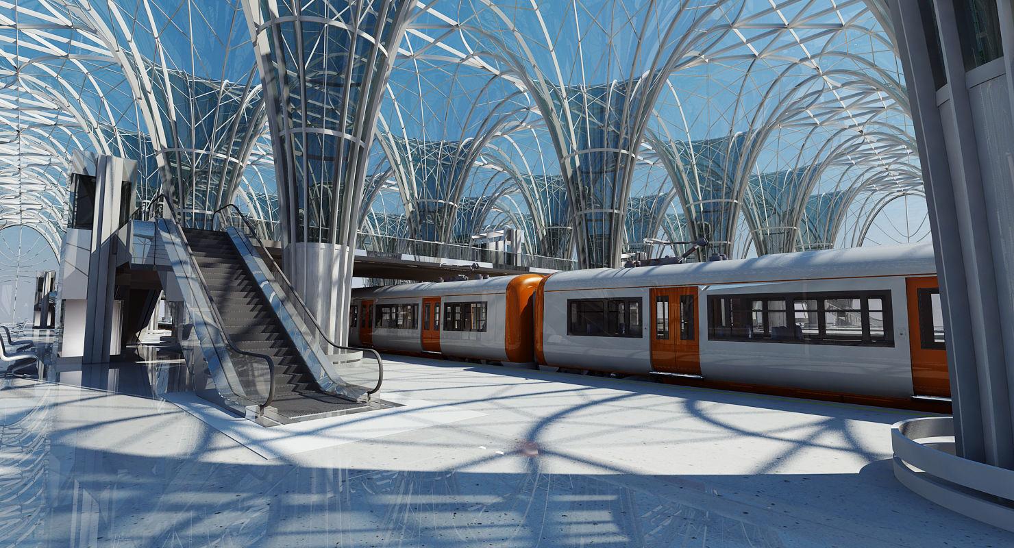 Modern Train Station Interior   3D model